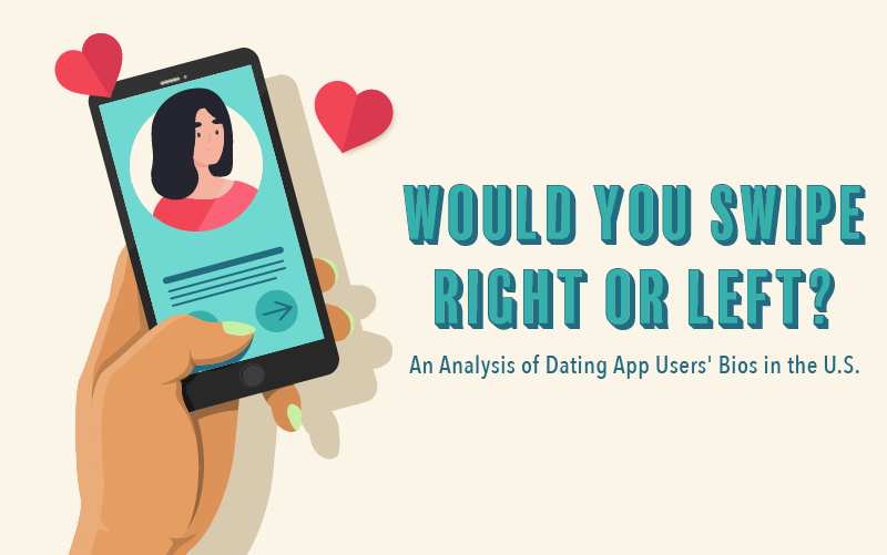 Phone icon with hearts, would you swipe right or left? An analysis of dating app bios in the US