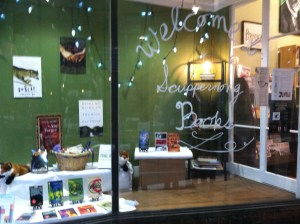 Window at Scuppernong Books, January 5, 2014.