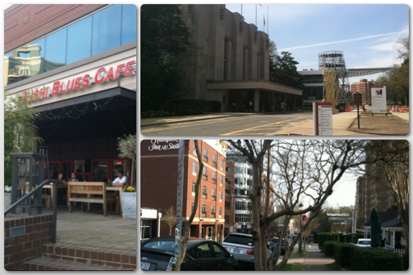 The Raleigh I met yesterday (4/3/20414). Clockwise from left, Sushi Blues Cafe on Glenwood Avenue, Glenwood South looking south from the corner of Peace and Glenwood, Reynolds Coliseum and the partially constructed Talley Student Union on NC State University's Campus.