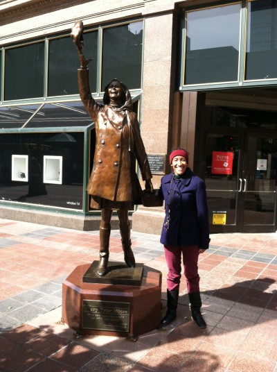 Kristen standing next to TV Land MTM statue when it was on Nicolet Mall in September 2014 . Photo by Graham Sheridan