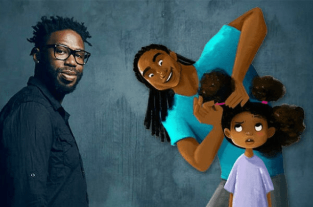 "Hair Love"" an animated short film about a black father doing"