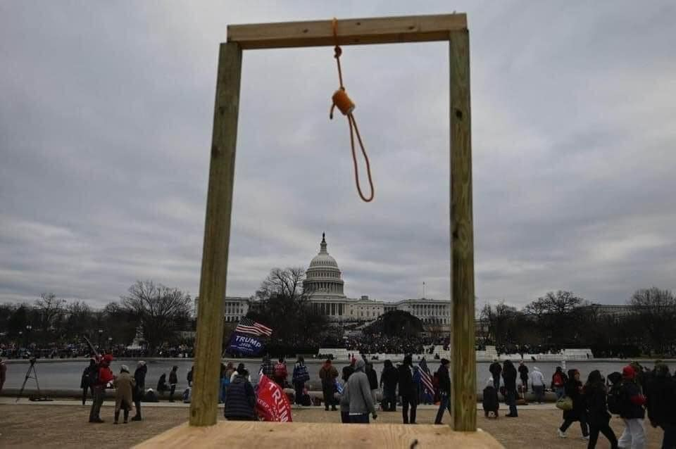 Pro-Trump rioters erected a lynching deck in front of the US Capitol building on the National Mall near the National Museum of African American History before an attempted coup to overturn the 2020 presidential election.