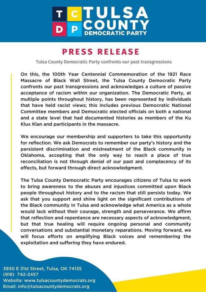 tulsa county democratic party reparations