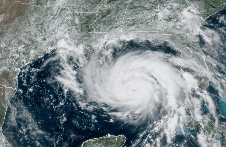 NOAA Satellite image of Hurricane Ida at 1:00PM CDT as it gains strength in the Gulf of Mexico