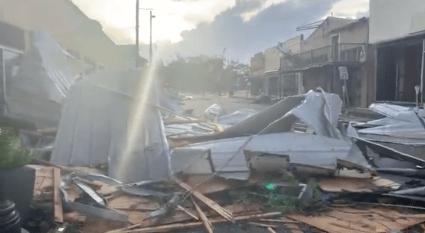 Devastation in downtown Houma, LA after Hurricane Ida