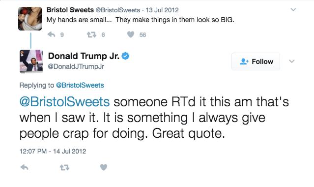 Perché fa il junior di Donald Trump. Segua una vettura di pompino su Twitter?