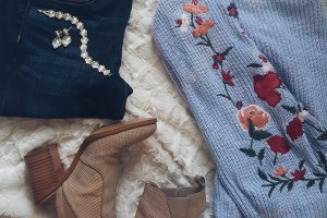 flay lay, florals, bell sleeve, high waisted jeans, booties