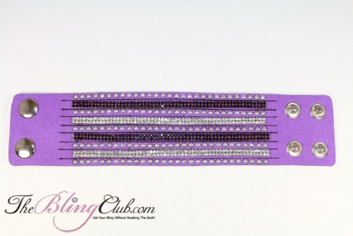TheblingClub cuff bracelet royal purple snap close crystals and studs