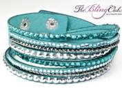 the bling club teal vegan leather swarovski crystal adjustable bracelet