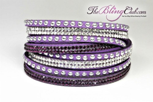 theblingclub.com royal purple vegan leather swarovski crystal wrap with silver studs