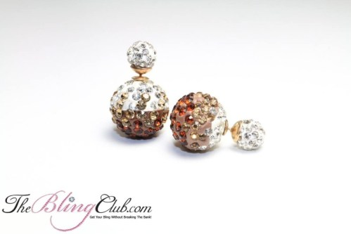 Shamballa Stud Bling Crystal Gradient Brown earrings