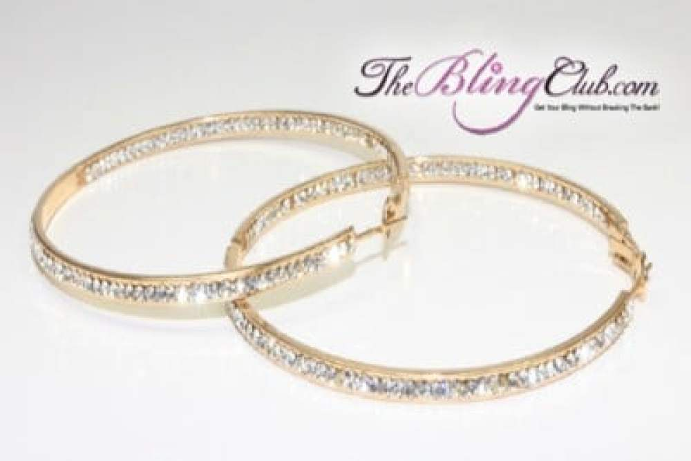 the bling club 60 mm gold with clear crystals inside outside hoops