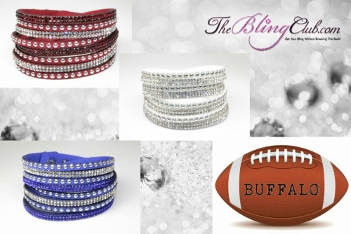The Bling Club Buffalo Bills NFL Football Vegan Leather swarovski Crystal Wrap Bracelet Trio