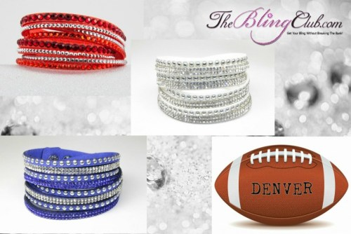 The Bling Club Miami NFL Football Vegan Leather swarovski Crystal Wrap Bracelet Trio