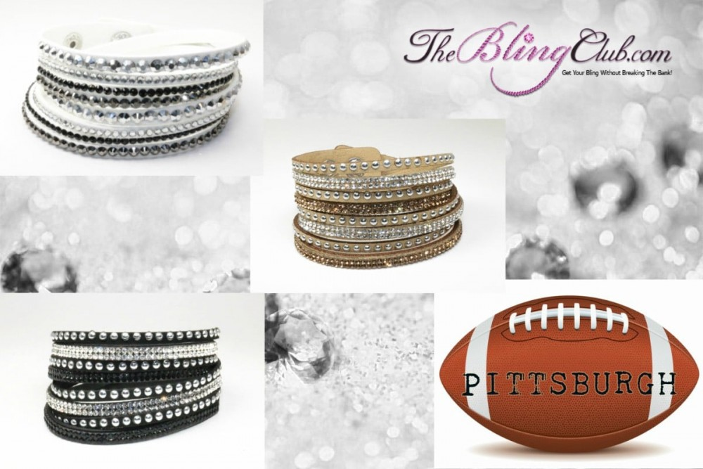 Pittsburgh Pro Football Bling Team Color Bracelet Set Cheer In Style