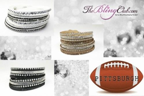 The Bling Club Pittsburgh Steelers NFL Football Vegan Leather swarovski Crystal Wrap Bracelet Trio