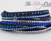 the bling club blue multi swarovski crystal vegan leather bracelet