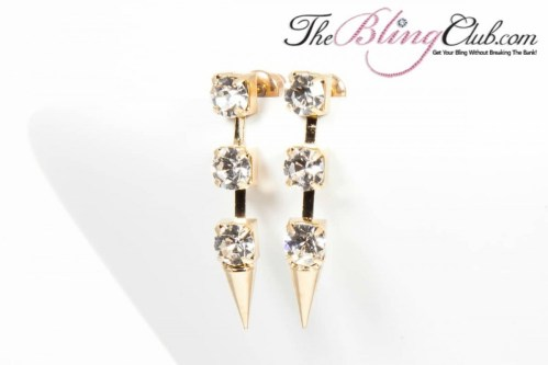 theblingclub gold spike 3 crystal stud earrings
