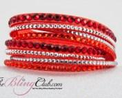 theblingclub.com bright orange 8 layer wrap bracelet swarovski crystals