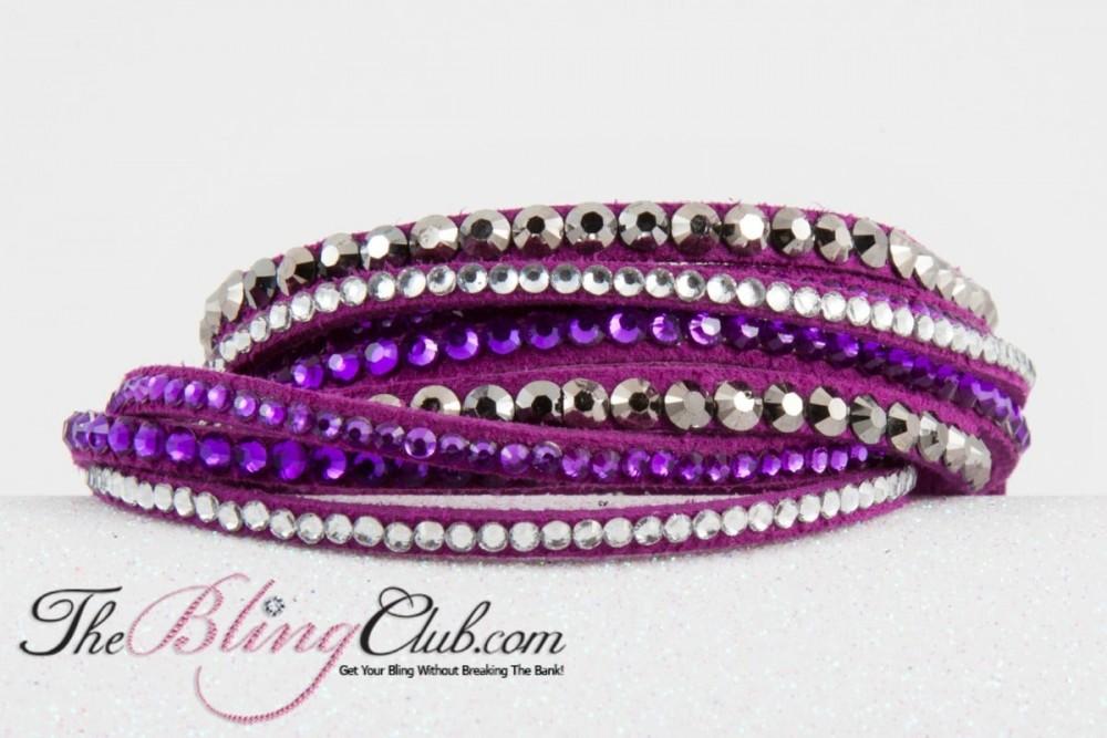 NEW! Purple Multi Bling Vegan Leather Crystal Wrap Bracelet
