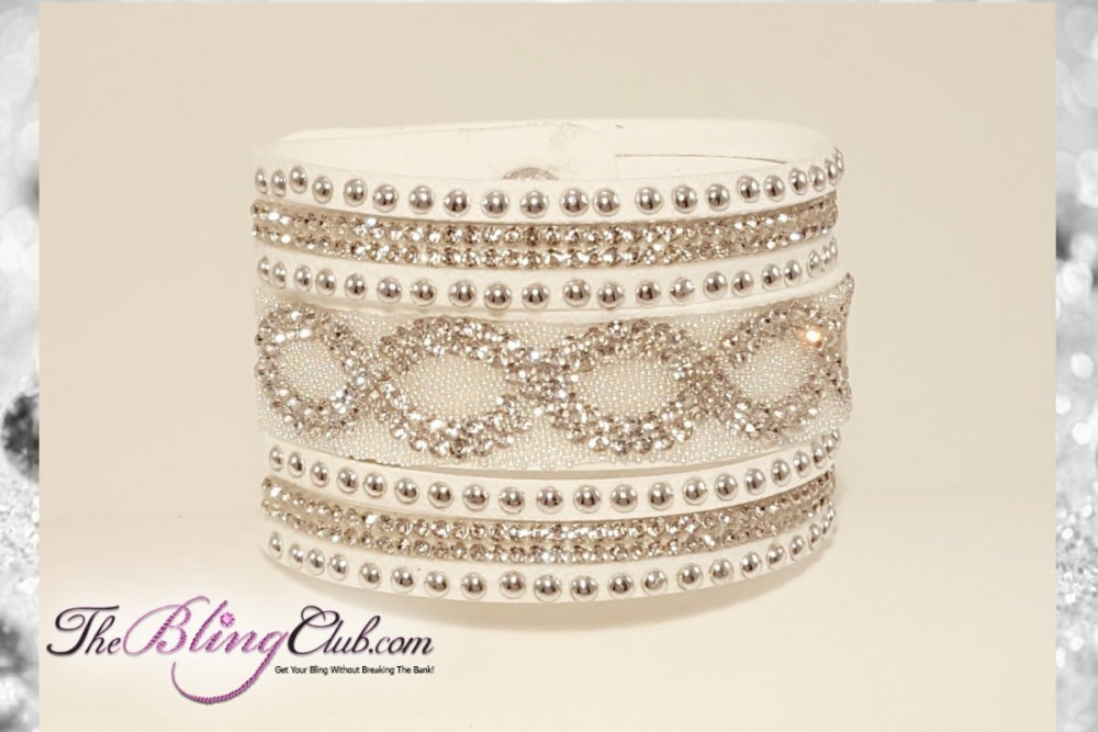 4743c3924 High Fashion White Ice Infinity Vegan Leather Bling Cuff Crystals ...