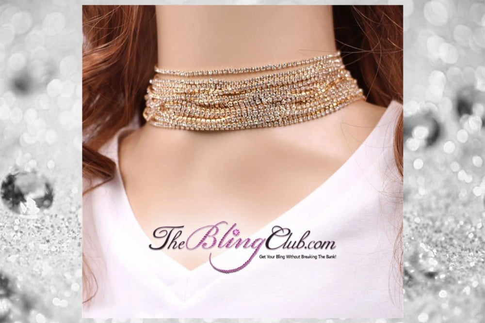 the bling club 15 row crystal bling rhinestone choker necklace gold main pic2