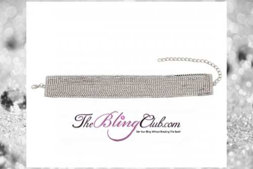 the bling club 15 row crystal bling rhinestone choker necklace second pic