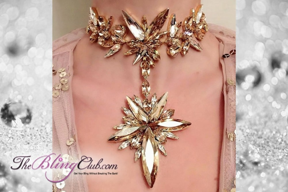the bling club gold swarovski crystal large star statement necklace closeup model