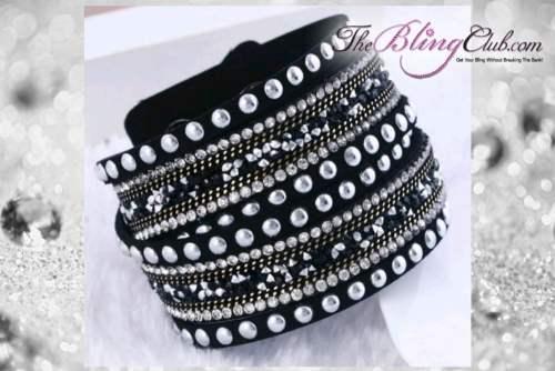theblingclub.com rockstud black crystal wrap bracelet choker