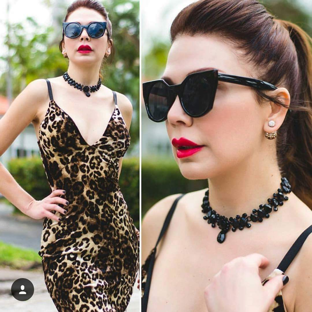 Black Crystal Choker As worn by Shireen Sandoval, Host Of Deco Drive