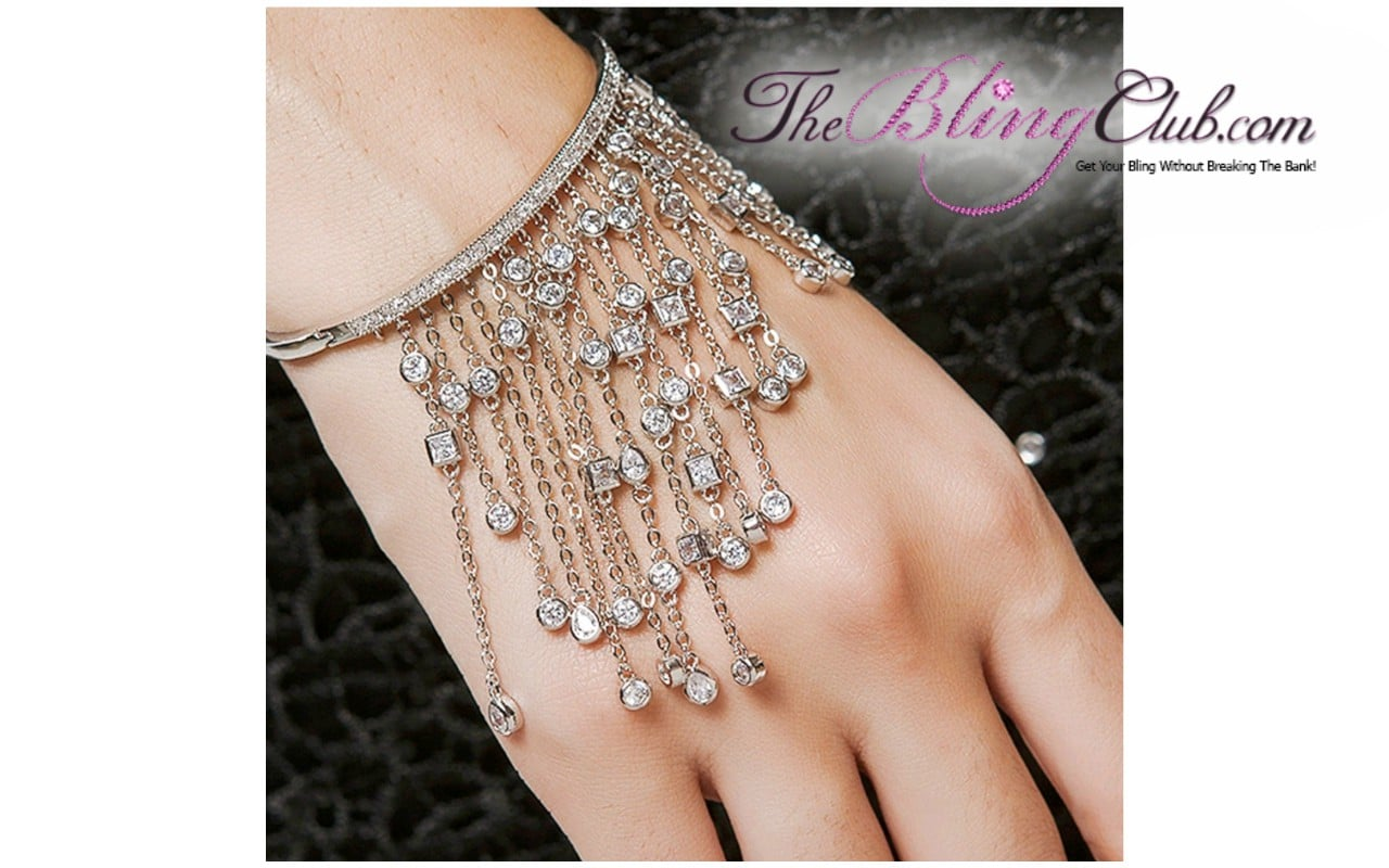 Luxe Dangling Crystal Bangle - Bling Jewelry - Clothing & More