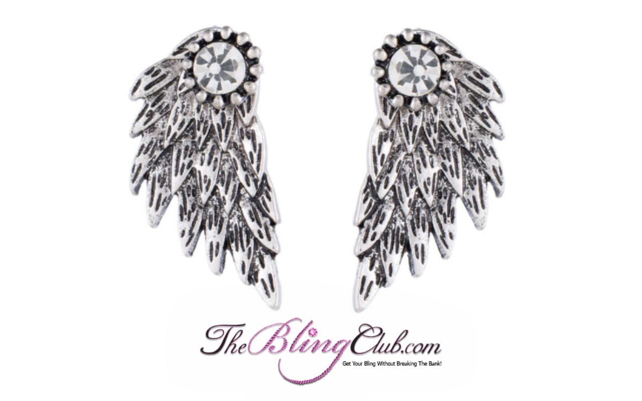 the bling club antique silver angel wing back earrings
