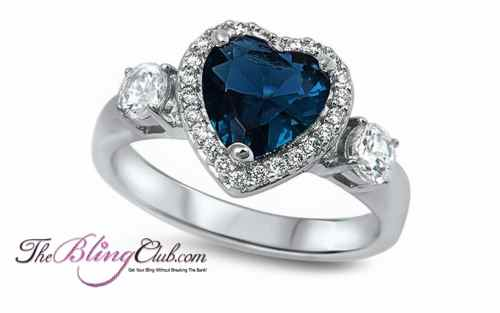 the bling club blue sapphire heart sterling silver ring swarovski crystals