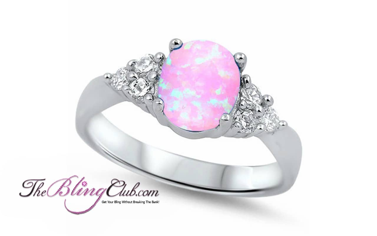 new style many choices of catch Sterling Silver Pink Opal Ring With Swarovski Crystals-Stunning!-Top Seller!