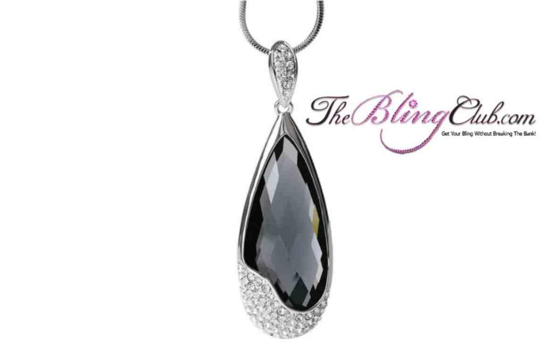the bling club long teardrop pendant