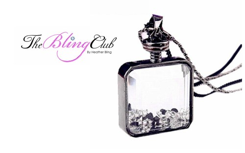 the bling club black white floating crystals long perfume bottle pendant necklace