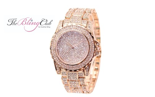 the bling club big bling rose gold michael kors look crystal watch white background