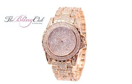 Rose Gold Big Bling Watch