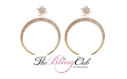 the bling club gold crystal moon stars lightweight earrings