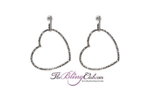 the bling club silver black crystal heart ea