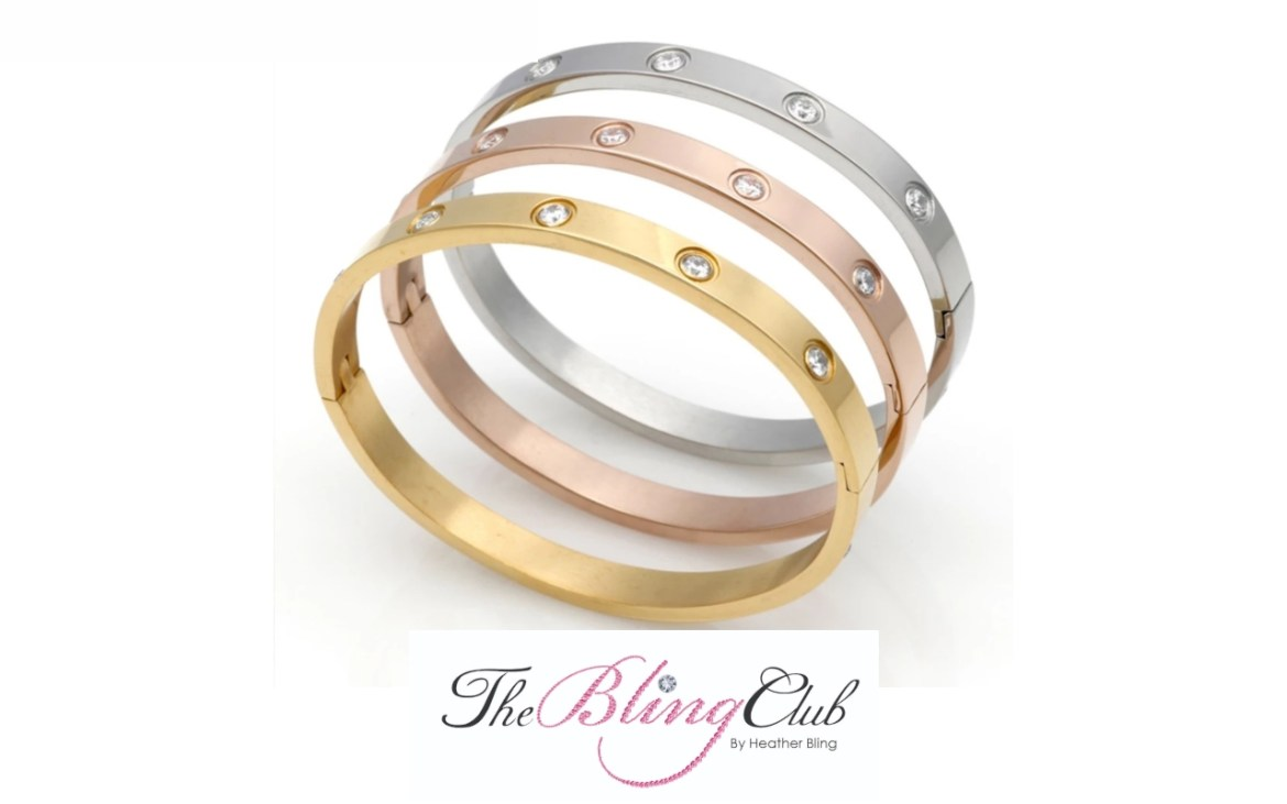 the bling club cartier love tricolor stainless steel bangle bracelets