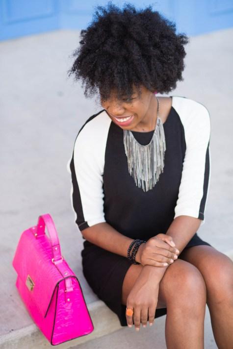 shift dress, blogger style, blogger fashion, kate spade, pink kate spade, pink purse, natural hair blogger, dallas blogger