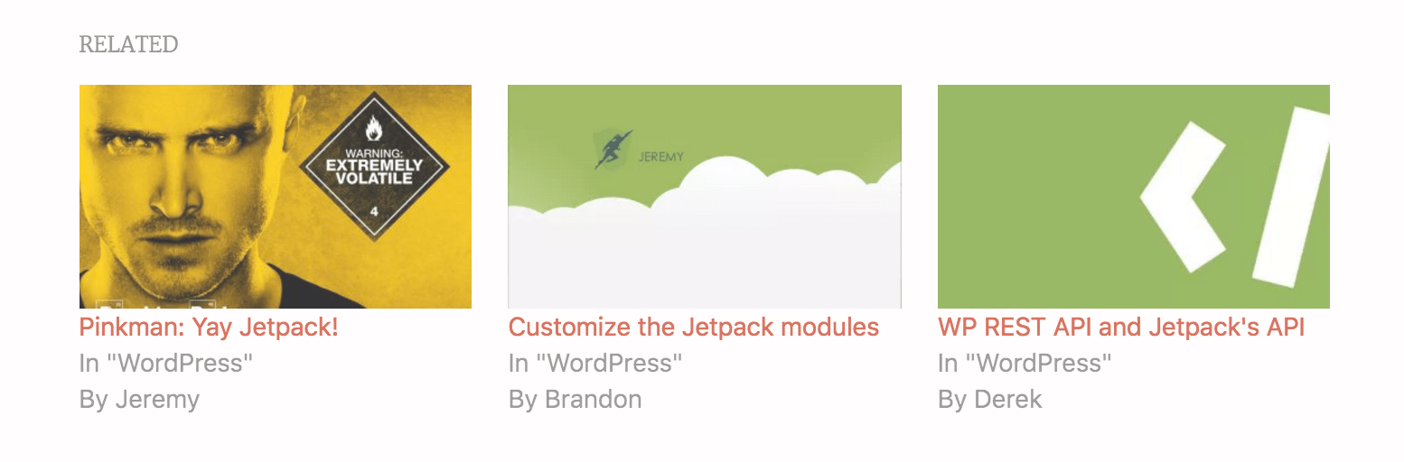 WordPress Jetpack Related Posts Feature