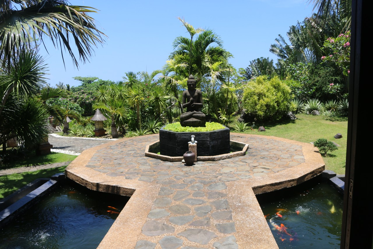 buddha and Koi Pond at Tirta Spa