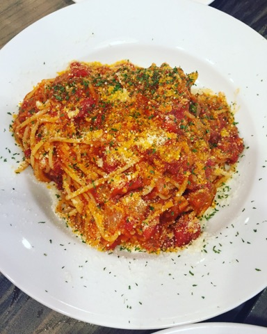 spaghetti pomodoro at Burp Restaurant