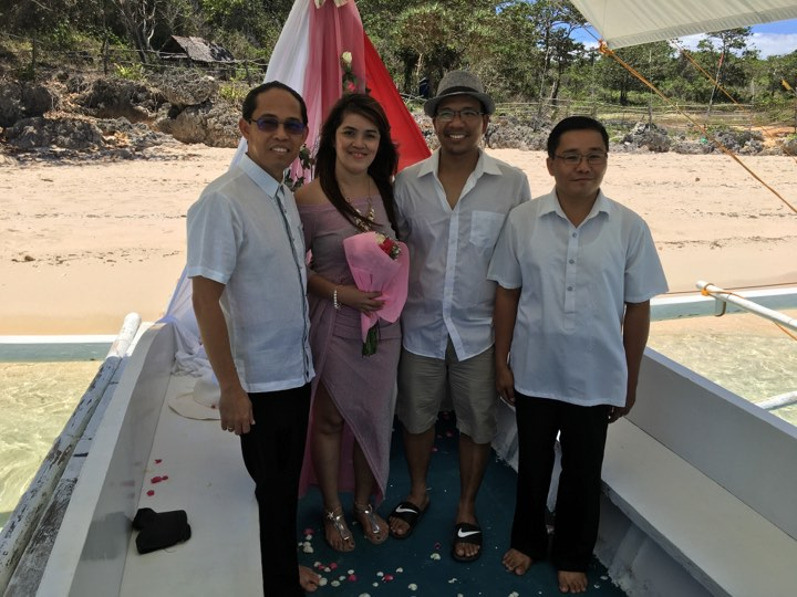 with pastor Angelo and Peter in our renewal of vows ceremony during our Boracay 2019 Day 2 vacation