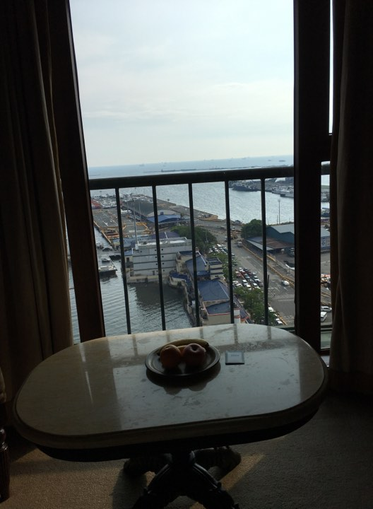 view of the Manila Bay in our room at the Manila Hotel