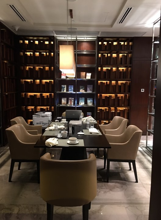 the library at the Continental Club Lounge at Marco Polo Ortigas
