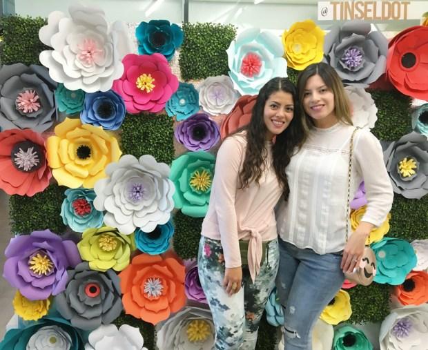 April South Florida Bloggers Meetup. Tinseldot made this beautiful backdrop by hand!