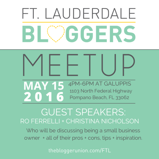 Ft Lauderdale Bloggers May Meetup will be all about running a small business & the business of blogging.